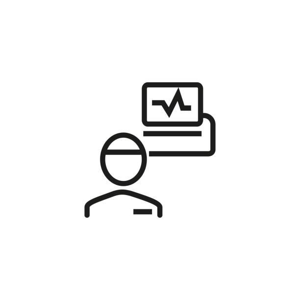 illustrazioni stock, clip art, cartoni animati e icone di tendenza di electroencephalography line icon - elettrodo
