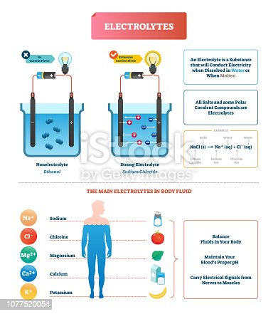 Electrolytes test vector illustration. Isolated Body fluid labeled diagram example. Ethanol and sodium chloride science test. Scheme with substance that conducts electricity when dissolved or molten.
