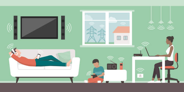 electromagnetic fields in the home - home stock illustrations