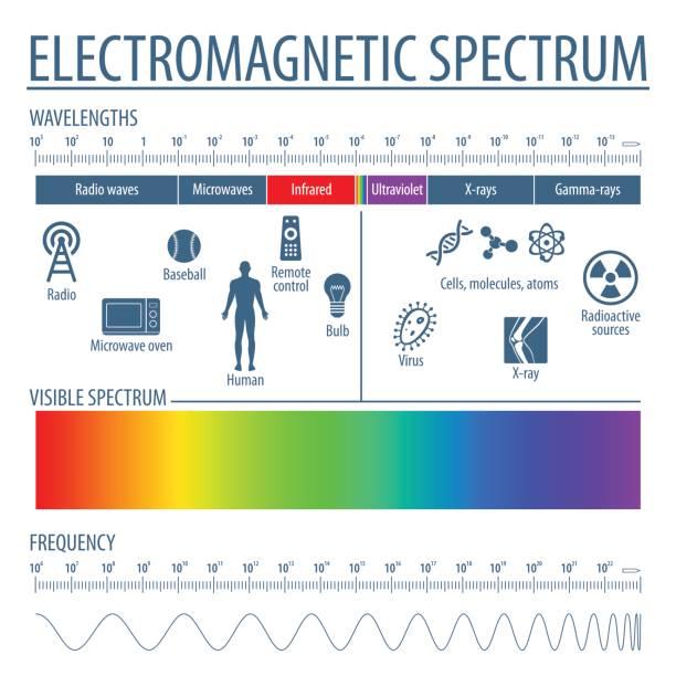 bildbanksillustrationer, clip art samt tecknat material och ikoner med elektromagnetiska spektrumet och synligt ljus - spektrum