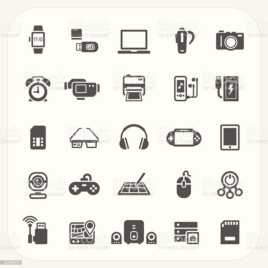 Electronic and gadget icons set vector art illustration