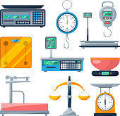 Electronic, balance and other types of scales. Vector illustrations isolate