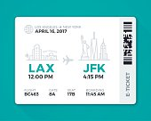 Electronic boarding pass airline ticket. EPS 10 file. Transparency effects used on highlight elements.