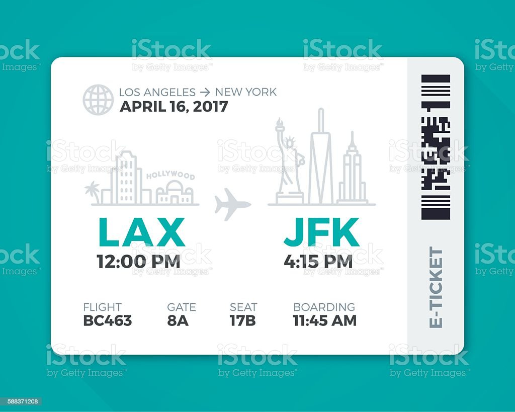 Electronic Boarding Pass Airline Ticket vector art illustration