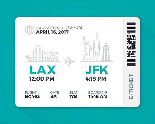 Electronic Boarding Pass Airline Ticket Electronic boarding pass airline ticket. EPS 10 file. Transparency effects used on highlight elements. airport silhouettes stock illustrations