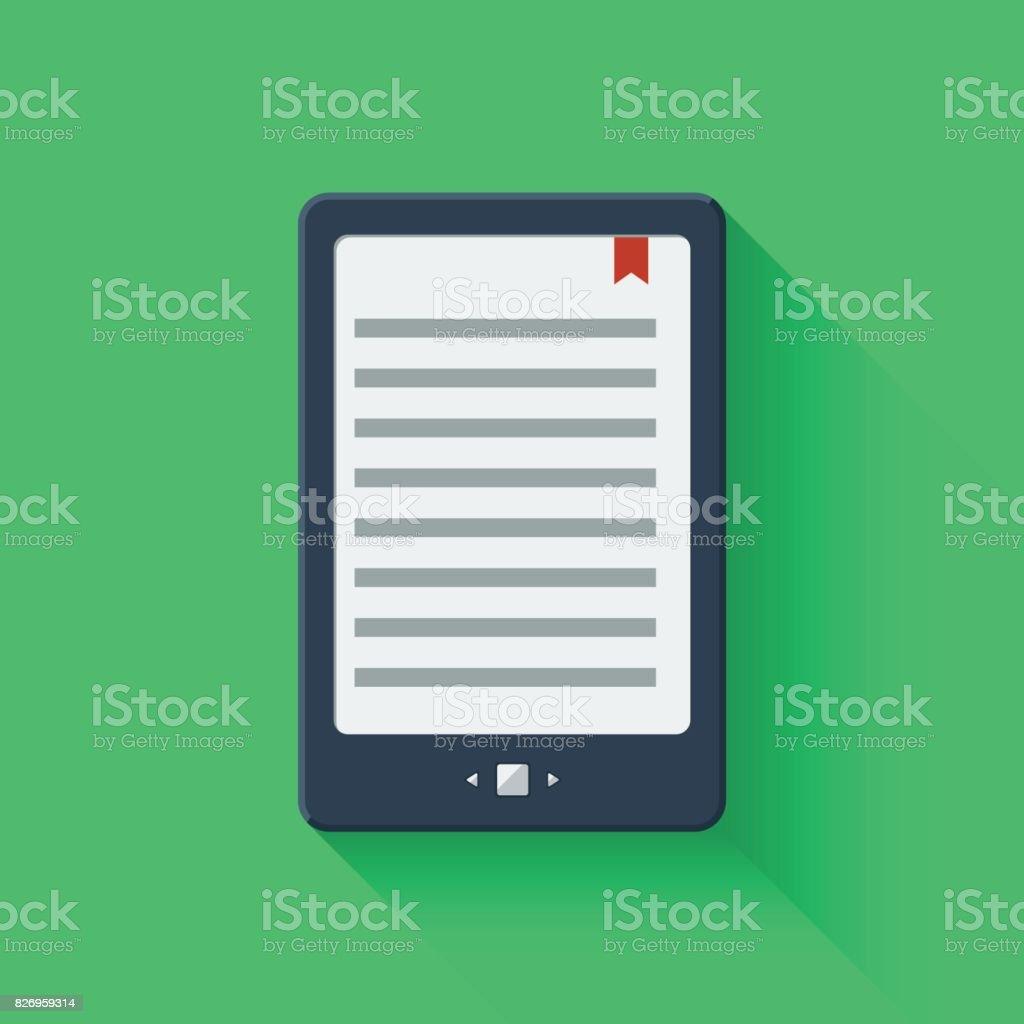 Electronic book reader tablet. vector art illustration