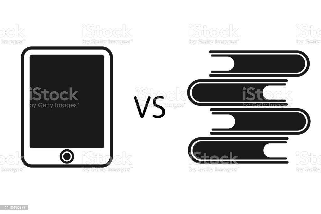 Livre Electronique Versus Livres En Papier Vecteurs Libres