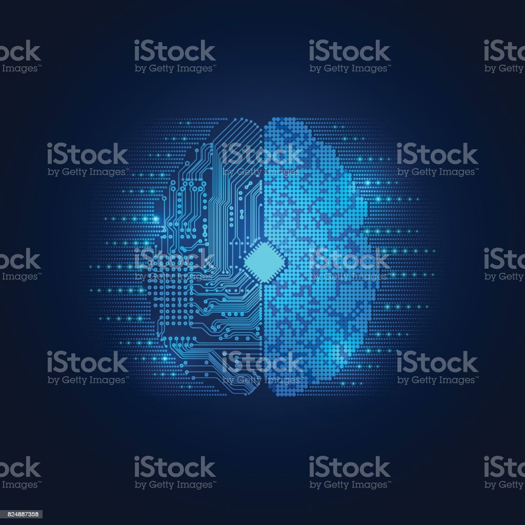electronic brain vector art illustration