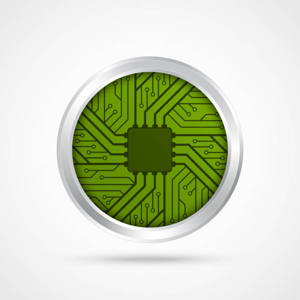 Electronic chip icon. vector art illustration