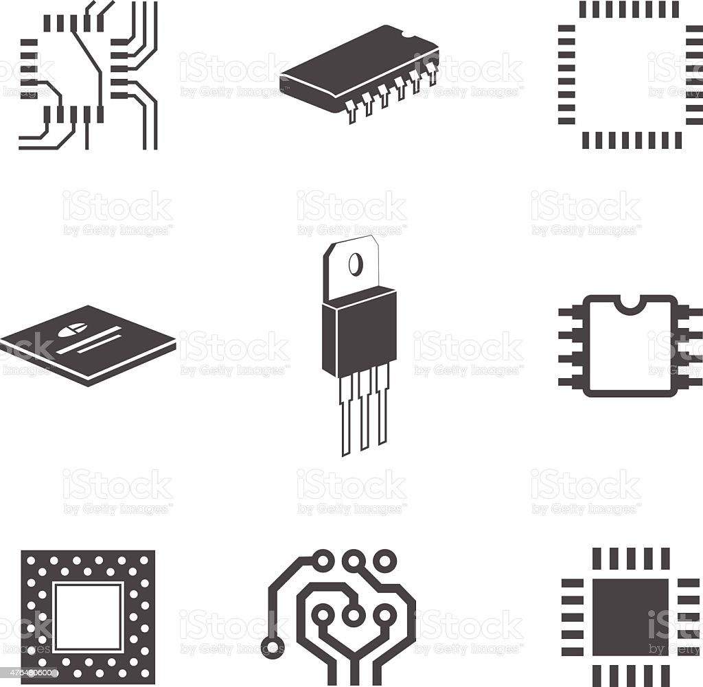 electronic chips and circuits stock vector art  u0026 more