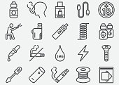 Electronic Cigarette Line Icons