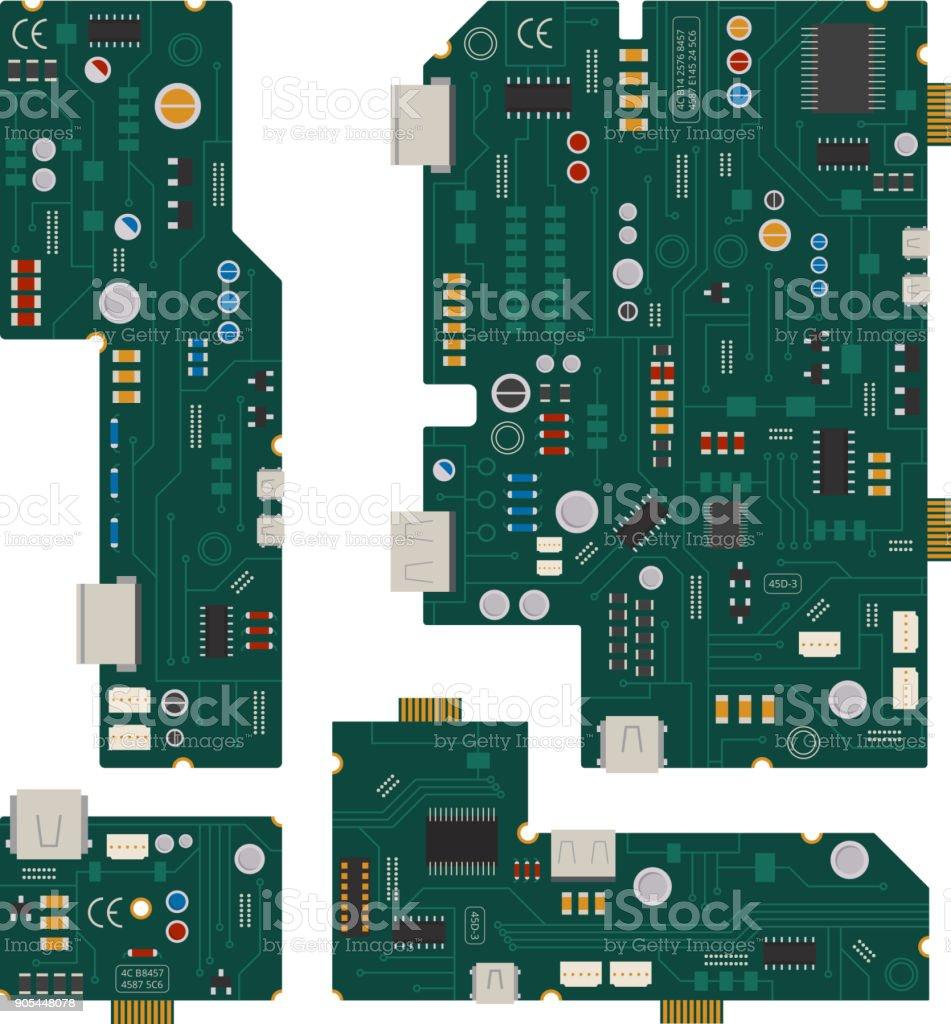 Circuito Electronico : Ilustración de circuito electrónico placa madre de ordenador con