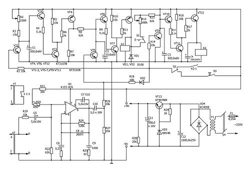 Electronic circuit diagram vector drawing