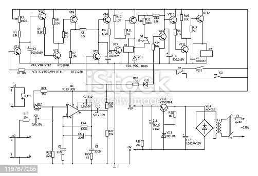 istock Electronic circuit diagram vector drawing 1197677255