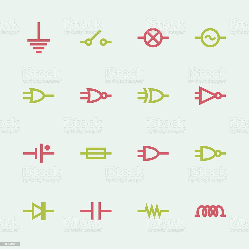 Electronic Circuit Icons - Color Series vector art illustration