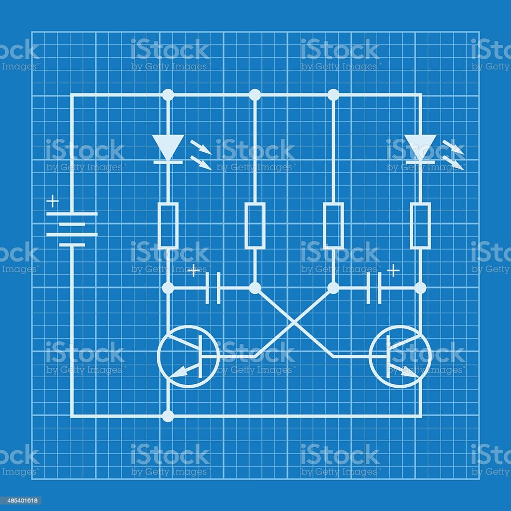 Electronic Circuit Scheme Blueprint Background Stock Vector Art ...