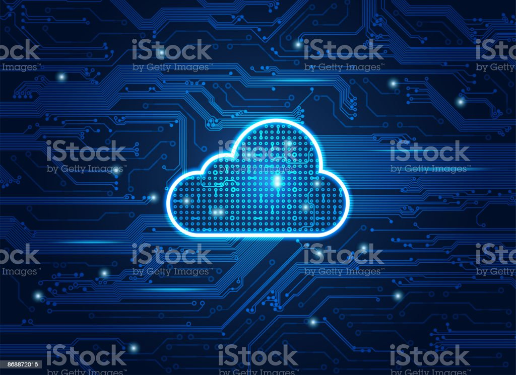 Electronic Cloud vector art illustration