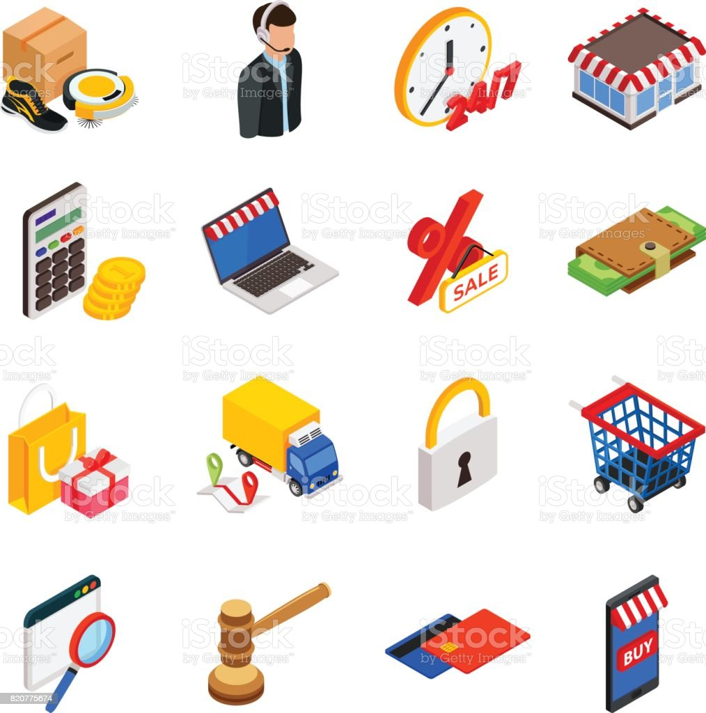 Electronic commerce isometric icon set with gadgets for buying on internet and shopping symbols