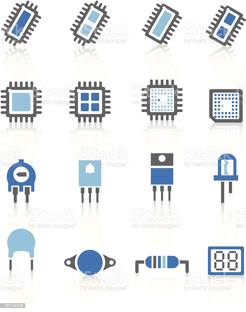 Electronic component Icons - Blue Series vector art illustration