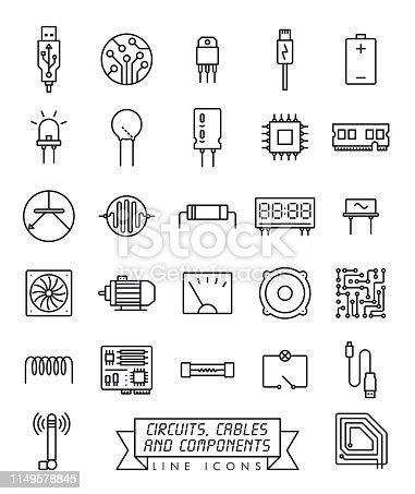 Collection of electronic components, circuits and cables vector line icons. Microtechnology symbols.