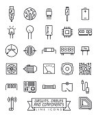 istock Electronic components line icons vector set 1149578845