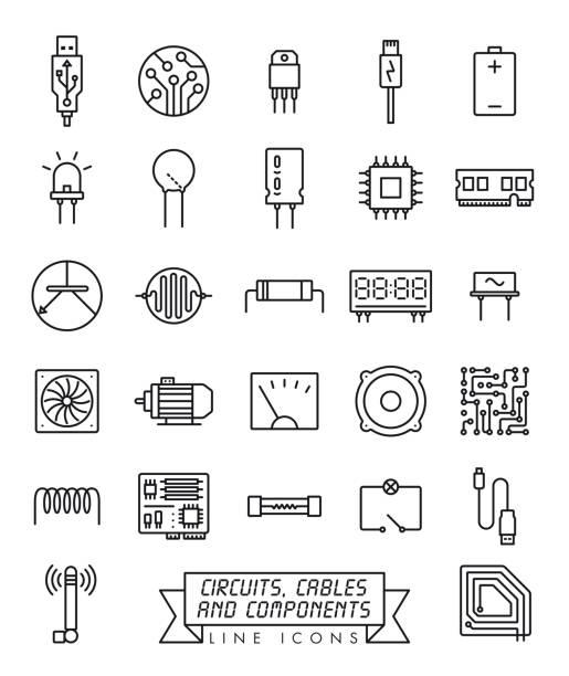 zestaw ikon linii komponentów elektronicznych - przewód składnik elektryczny stock illustrations