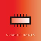 Electronic components. The sign and symbol for creation of design as radio market, microchip shop and internet shop.