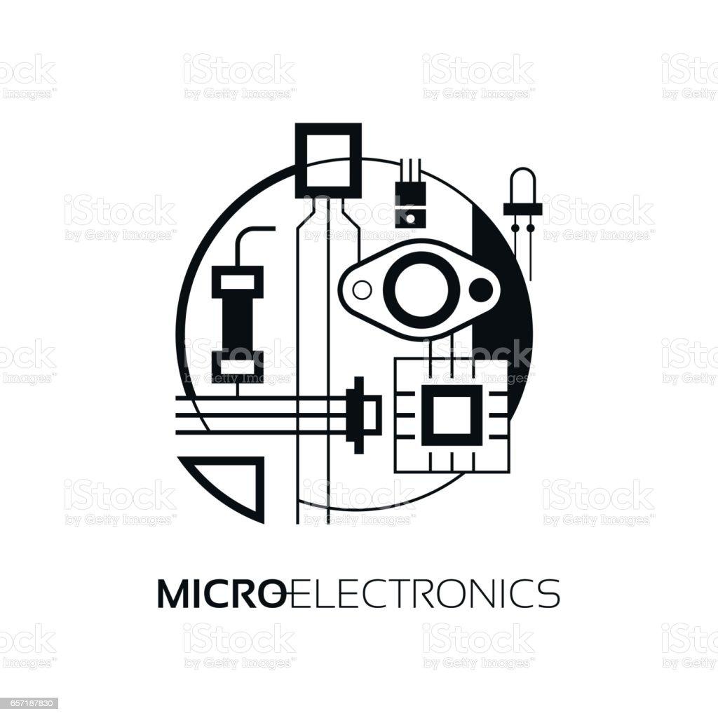 Elektronische Bauteile Die Zeichen Und Symbol Für Die Erstellung Des ...