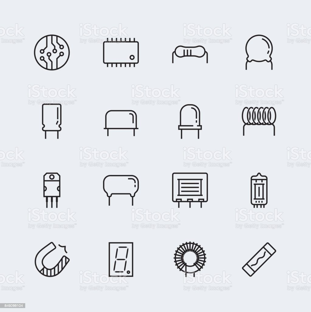 Electronic components vector icon set in thin line style vector art illustration