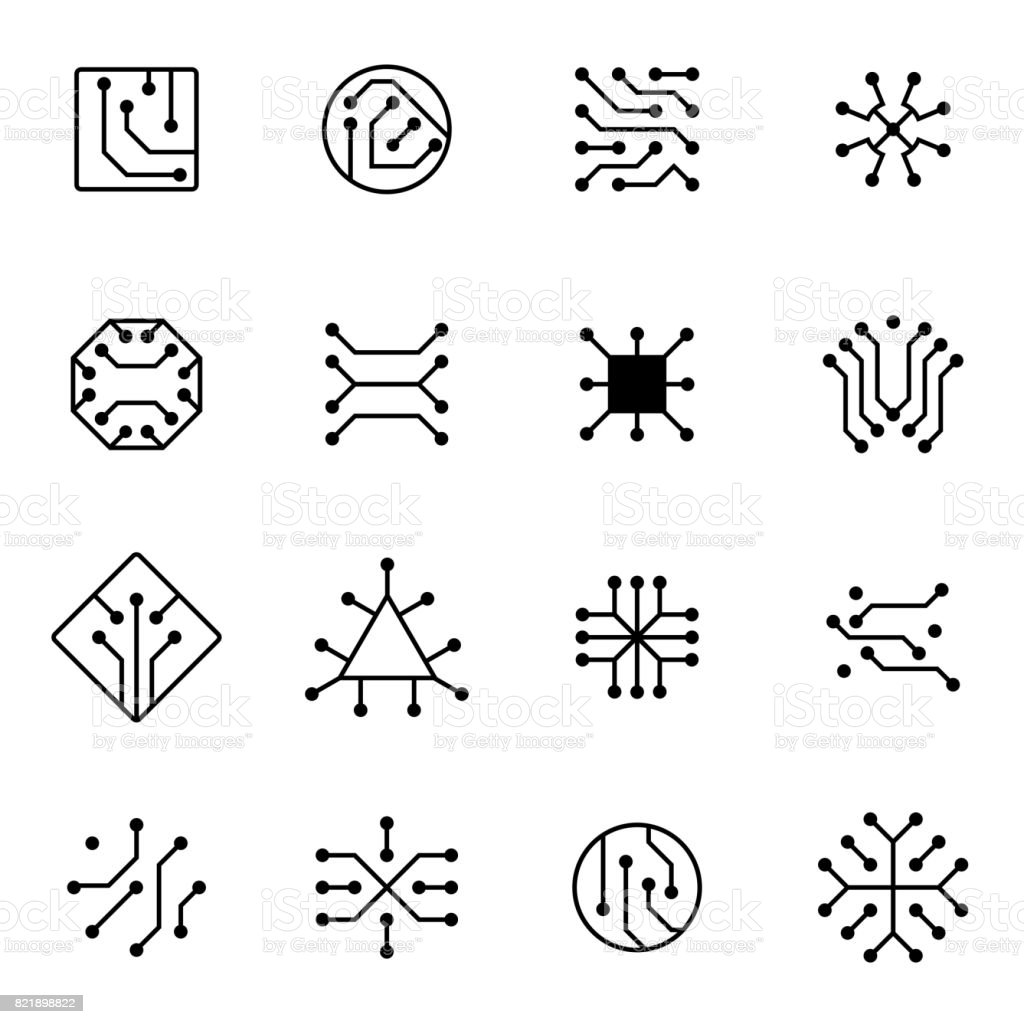 Electronic computer chip circuit and motherboard equipment vector icons royalty-free electronic computer chip circuit and motherboard equipment vector icons stock illustration - download image now