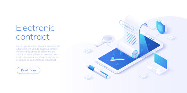 electronic contract or digital signature concept in isometric ve - kontrakt stock illustrations