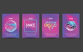 electronic dance music cover template for club party flyer, colorful waves with gradient background