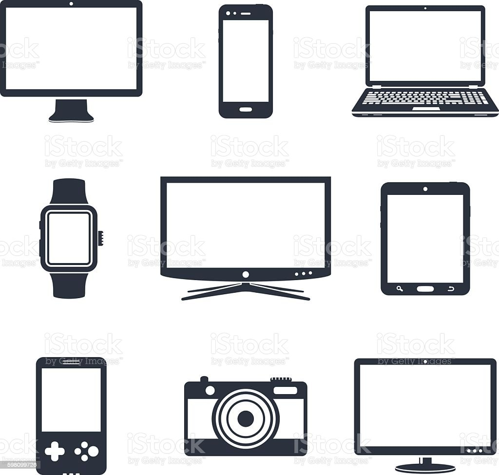 Electronic device icons - Illustration vectorielle