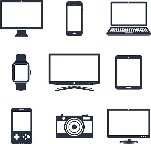 Electronic device icons vector art illustration