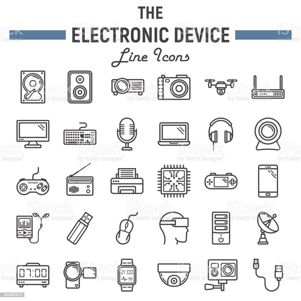Electronic Device Line Icon Set Technology Symbols Collection Vector ...