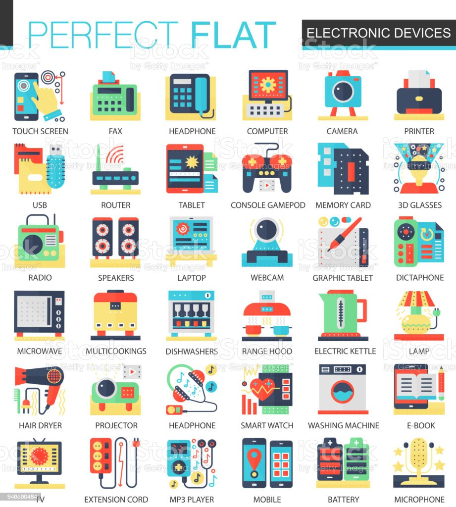 Electronic Devices And Gadgets Vector Complex Flat Icon Concept