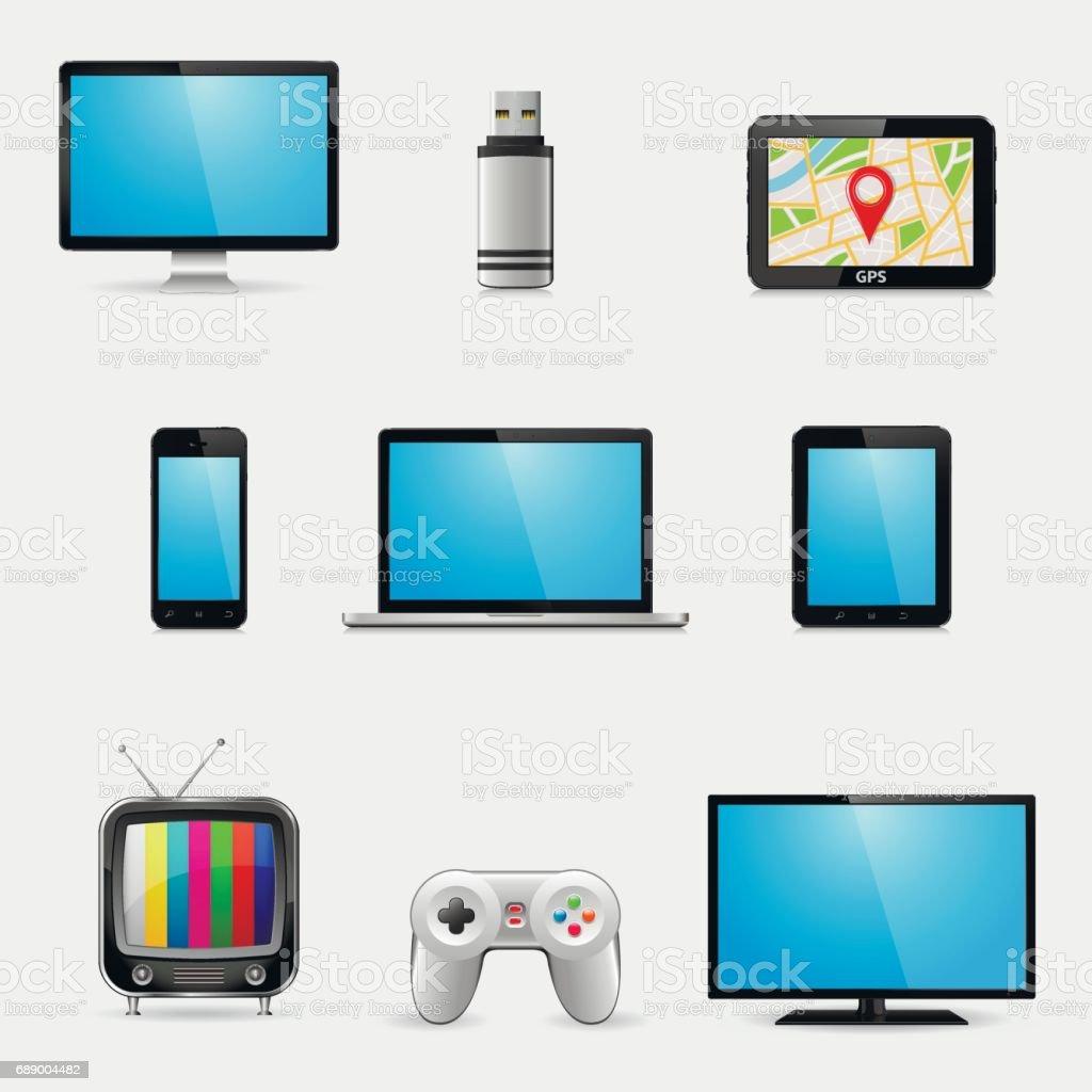 Elektronische Geräte Und Multimediageräte Symbole Stock Vektor Art ...