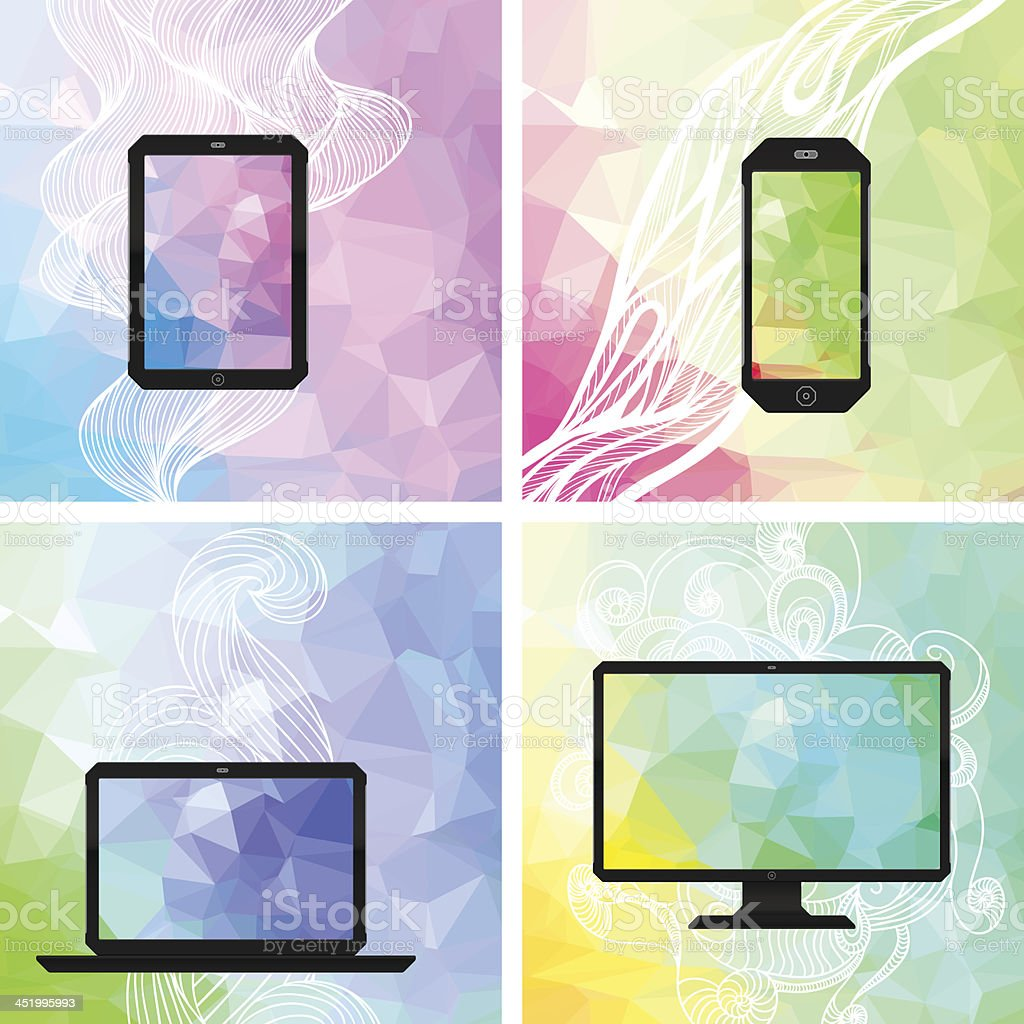 Electronic devices backgrounds. royalty-free stock vector art