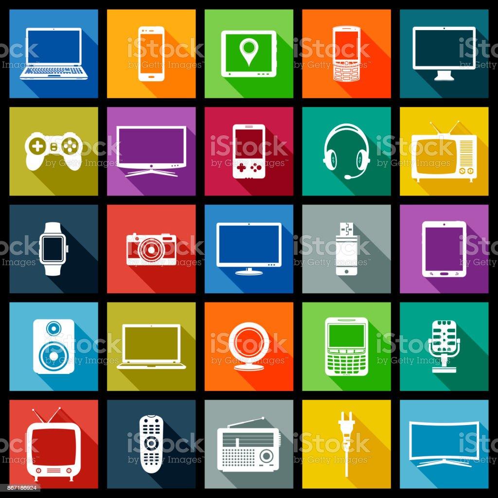 Elektronische Geräte-flachen Design-Ikonen – Vektorgrafik