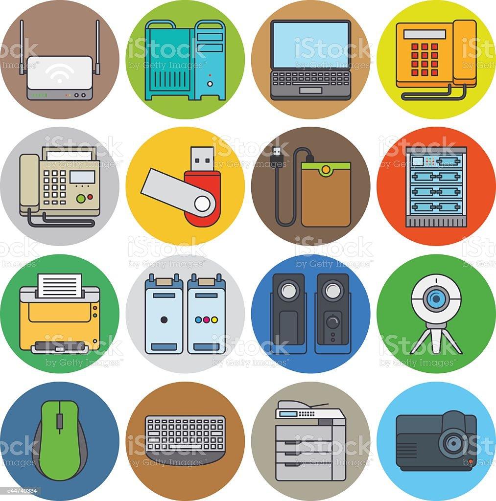 Elektronische Geräte Flache Linien Symbole Stock Vektor Art und mehr ...
