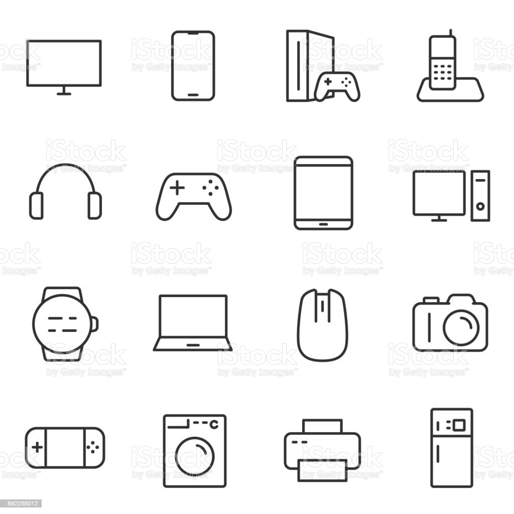 Electronic devices icons set. Line with Editable stroke vector art illustration