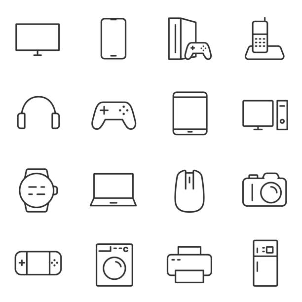 Electronic devices icons set. Line with Editable stroke Electronic devices icons set. Gadgets and household appliances. Vector linear icon. game controller stock illustrations