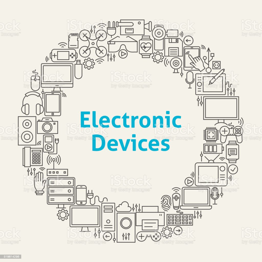 Electronic Devices Line Art Icons Set Circle vector art illustration