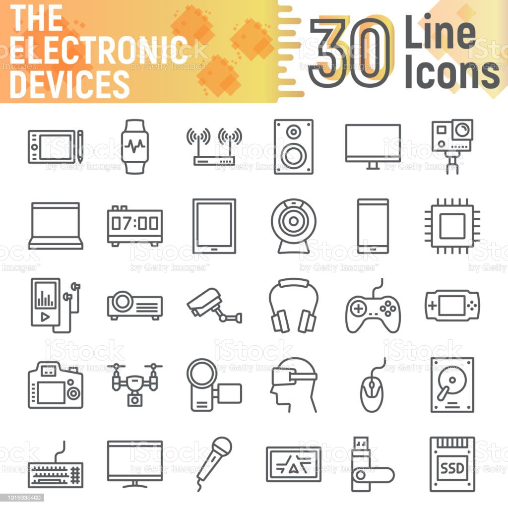 Electronic Devices Line Icon Set Media Symbols Collection Vector