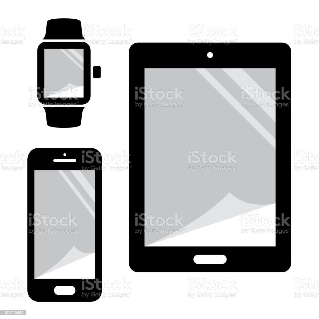 Electronic devices protection film on screen vector art illustration