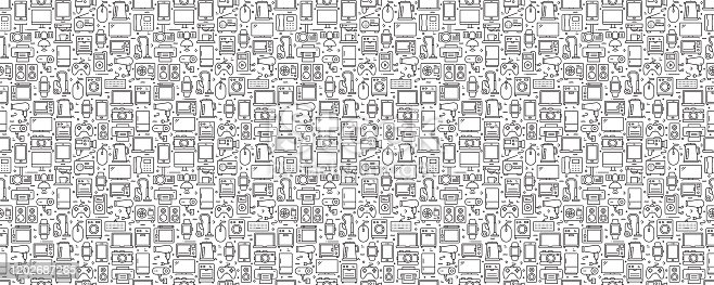 istock Electronic Devices Seamless Pattern and Background with Line Icons 1202687265