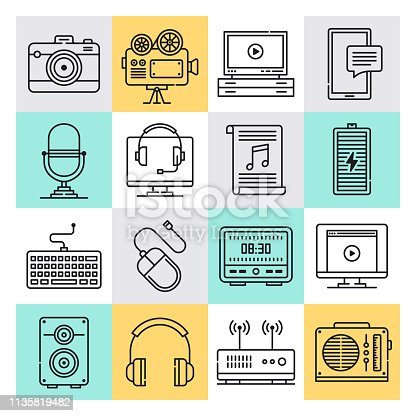 Electronic devices and sensors outline style concept with symbols. Line vector icon sets for infographics and web designs.