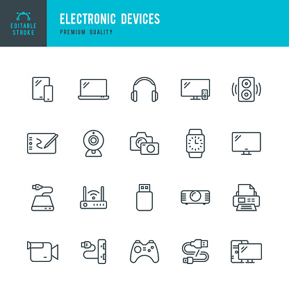 Set of 20 Electronic Devices thin line vector icons. Smart Phone, Laptop, Camera, Smart Watch, Desktop PC and so on