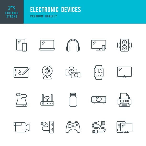 elektronische geräte-set von dünnen vektorsymbolen - freizeitelektronik stock-grafiken, -clipart, -cartoons und -symbole