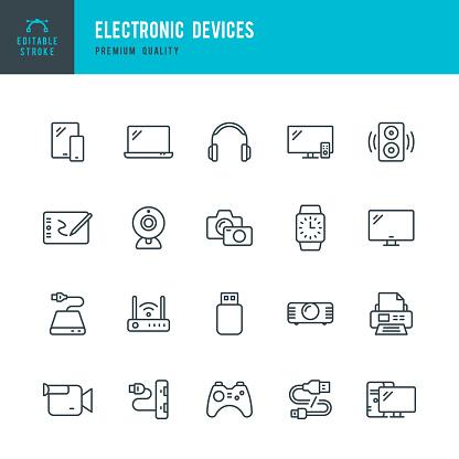 Electronic Devices Set Of Thin Line Vector Icons - Arte vetorial de stock e mais imagens de Adaptador